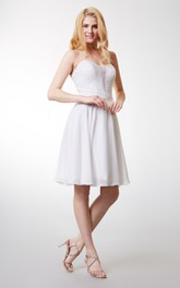 Short Satin Belt Sleeveless Dream Chiffon Dress