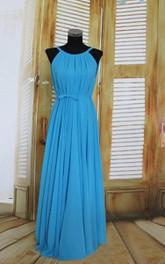 Sleeveless Floor-length Chiffon Dress With Pleats
