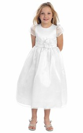 Organza Cap-Sleeve Ankle-Length Flower Girl Dress