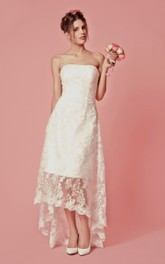 Strapless Lace High-low Wedding Dress With Appliques