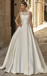 A-line Satin Jewel Neckline Sleeveless Wedding Dress With Illusion And Court Train