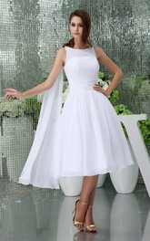 A-Line Pleated Chiffon Sleeveless 3-4-Length Dress