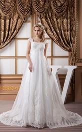 A-Line Appliqued Rhinestone High-Waist Caped-Sleeve Gown