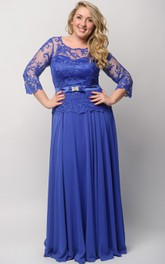 3 Illusion Long High-Waist Lace Dress