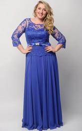 3 Illusion Long High-Waist Lace Dress