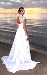 Chiffon Cap Sleeves Long V-Neckline Wedding Dress