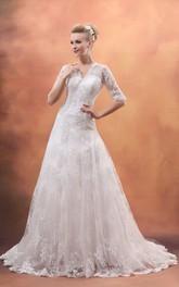 Lace Appliqued Tulle Overlay V-Neckline Short-Sleeve Dress