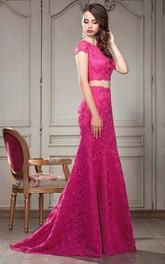 Short-Sleeve Pleated Floor-Length A-Line Keyhole Ruffled Dress