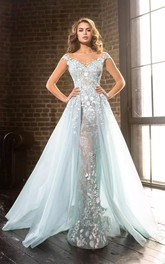 A-Line V-neck Lace Tulle Ethereal Romantic Floor-length Cap Sleeveless Zipper Deep-V Back Appliques Evening Dress