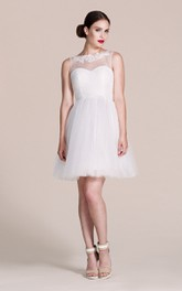 Short Illusion Neckline Tulle A-Line Bridesmaid Dress