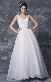 V-Neckline Lace Top Princess Jeweled Cap-Sleeved Organza Ball Gown