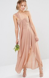 High-Low Sleeveless One-Shoulder Ruched Chiffon Bridesmaid Dress