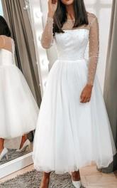A Line Bateau Tulle Tea-length Long Sleeve Illusion Wedding Dress With Beading