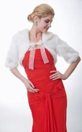 Half Sleeve Faux Fur Bridal Cape With Straps