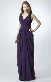 V-neck Sleeveless long Pencil draped Bridesmaid Dress