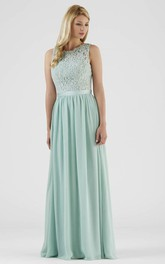 Scoop-neck Sleeveless Chiffon Floor-length Dress With Keyhole And Lace top