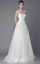 Bateau Sleeveless Tulle A-line Dress With Embroidery And Sweep Train
