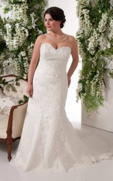 Sweetheart Appliqued Mermaid plus size wedding dress With Corset Back