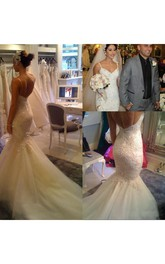 Spaghetti Lace Tulle  Sleeveless Wedding Gown