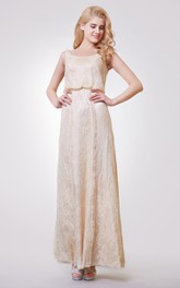 casual Bateau-neck Sleeveless Lace Ankle-length Dress With Low-V Back