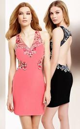 V-Neck Sleeveless Mini Jersey Cocktail Dress