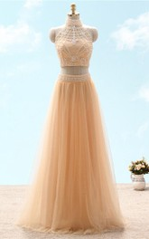Sleeveless Rhinestone High-Neckline A-Line Lace Tulle Gown