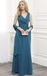 V-Neckline Appliqued Cape Sleeveless Floor-Length Mother Of The Bride