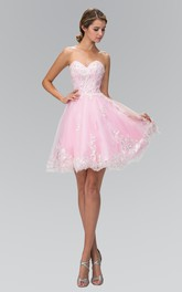 A-Line Jeweled Mini Sweetheart Sleeveless Strapless Tulle Dress