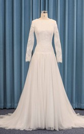 Tulle Dropped Waist Long Sleeve Wedding Dress A-line With Lace Overlay And Pleats