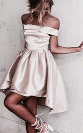 Sleeveless A-line Short Mini High-low Off-the-shoulder Ruching Satin Homecoming Dress
