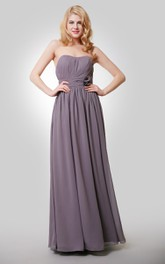 Floor-Length Floral Pleat A-Line Chiffon Dress