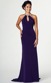 Sleeveless Jersey Prom Dress With jeweled neckline