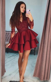V-neck Satin Lace Long Sleeve Short Homecoming Dress with Ruffles and Tiers