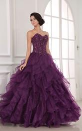 Organza Ruffled Crystal A-Line Lavish Ball Gown