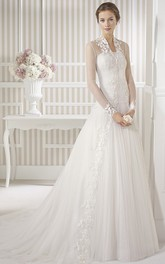 modest Illusion Long Sleeve Tulle Wedding Dress With Ruching And Appliques