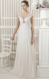 Tulle Cap-sleeve Ruched Empire Wedding Dress With Low-V Back And Sweep Train