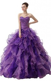 Dreaming Rhinestones Cascading Ruffled Sweetheart Ruched Ball Gown