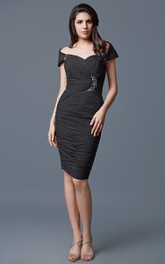 Short Jeweled Detail Asymmetrical Off Gorgeous Ruched Mesh Gown