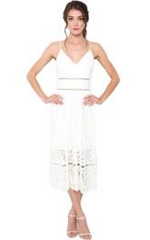 Pencil Tea-Length Spaghetti Sleeveless Lace Little White Dress With Deep-V Back