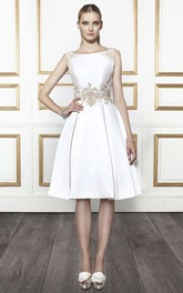 Bateau Sleeveless Satin Knee-length A-line Wedding Dress With Deep-V Back