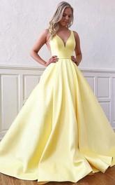Straps V-neck Satin Sleeveless Floor-length Sweep Train Prom Dress with Ruffles