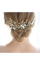 Bridal Headdress Handmade Pearl Flower Hair Band