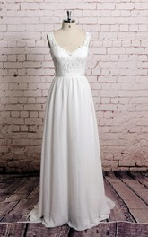A-Line Waistband Sleeveless V-Neckline Chiffon Dress