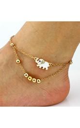 Diamond Elephant Beaded Bracelet Anklet Jewelry