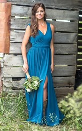 Simple V-neck Sleeveless Empire Waist Bridesmaid Dress