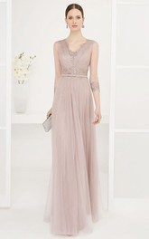 V-neck Sleeveless Tulle Sheath Dress With Beading And Low-V Back