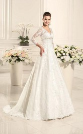 Long-Sleeve Satin Sweetheart A-Line Wedding Lace Dress