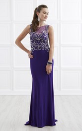Jewel-Neck Sleeveless Jersey long Prom Dress With Beading And Illusion
