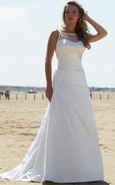 Bateau Sleeveless Satin Ruched Wedding Dress With Low-V Back