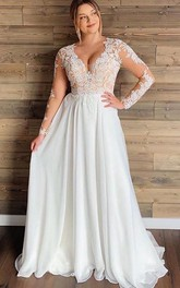 V-neck Chiffon Lace Long Sleeve Floor-length Button Illusion A Line Wedding Dress